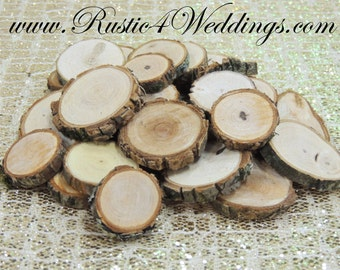 100 qty 1 to 1.5 inch Eclectic Wood Slices Mix in small sizes, for crafts, buttons, wood art, wedding table scatters, confetti, wood mosaics