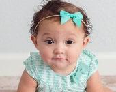 Nylon bow, headband set 1 size fits all, comfy baby newborn girls hair, white, aqua, pink