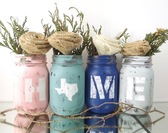 Texas Home Decor, State Pride, Texas State, Distressed Mason Jar Set, Texas Decor, New Home Gift, Personalized Gift, Tabletop Decor