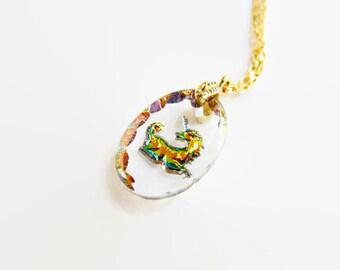 Crystal Unicorn Necklace, Vintage German Pendant on a Brass Chain, Rainbow Unicorn Jewelry