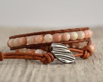 Pink beaded leather wrap bracelet. Double wrap bracelet. Heart jewelry