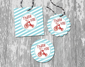 Classic Red Tricycle Printable Thank You Favor Tags Stickers Labels INSTANT DOWNLOAD