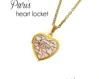 Paris Map Necklace, Antique Map Jewelry, Brass Heart Locket, Vintage Locket, France, Europe, City Necklace, Gift for Her