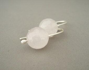 Pink Earrings - Rose Quartz and Sterling Silver Earrings