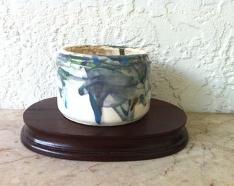 Dashing Vintage Art Pottery - White and Green, Glazed Studio Pottery Bowl or Pot – Artist Signed - One of a Kind, Free Shipping