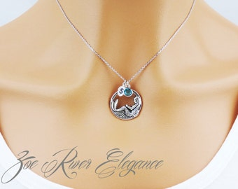 Personalized birthstone initial and mermaid necklace elegant and dainty