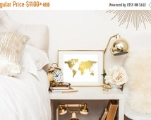 Flash Sale World Map Art Print Real Gold Foil World Map