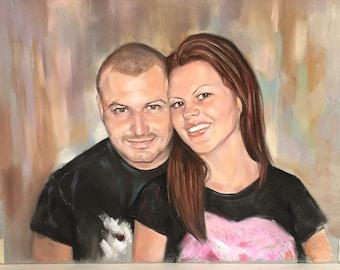 Custom Portrait, Portrait Painting, Couple illustration, Painting Commission, Custom Family Art, Original Pastel Painting, Wedding gift