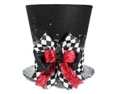 Christmas tree topper ,Unique Top hat tree topper, Whimsical Christmas table decoration, Harlequin Christmas decoration, Harlequin tree
