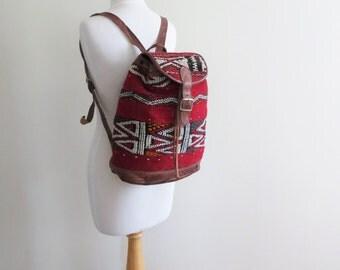 80s Kilim Tapestry Backpack Red Textile Rucksack
