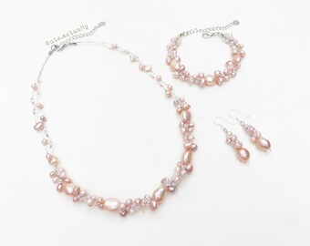Jewelry set - Pink peach freshwater pearl necklace, Bracelet, Earring on silk thread, sterling silver ear wires, Bridesmaid jewelry