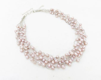 Pink freshwater pearl necklace on silk thread, crochet necklace, pink pearl necklace