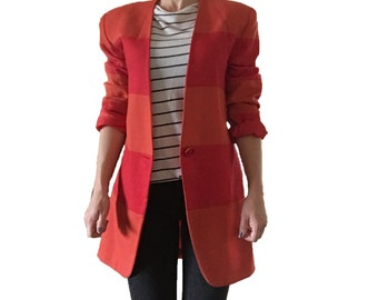Vintage Orange and Red Striped Jacket Blazer