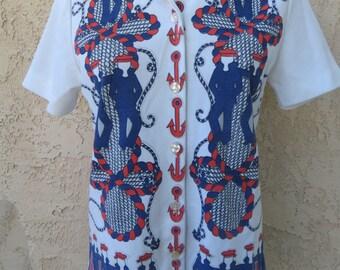 Vintage 1970's sailor print nautical white poly knit short sleeve shirt top blouse mod kitsch