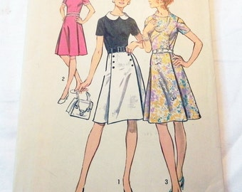 1970s Princess Seam fit and flare dress with pleated skirt sewing pattern Simplicity 9987 Size 14.5 Bust 37""