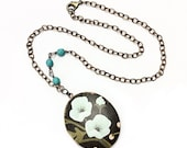 Blue floral locket necklace black locket Victorian locket turquoise locket