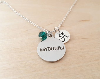 beYOUtiful Charm Necklace -  Swarovski Crystal Birthstone - Personalized Gift - Initial Necklace - Sterling Silver Jewelry - Gift For Her