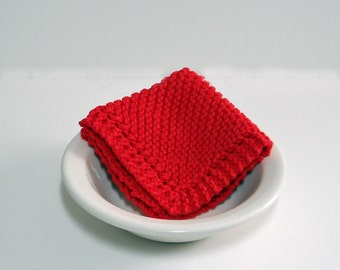 Large Hand Knit Washcloth/ Dishcloth in Red, Knit Dust Cloth, 100% Cotton, mix and match for a custom set, Housewarming Gift, Shower Gift