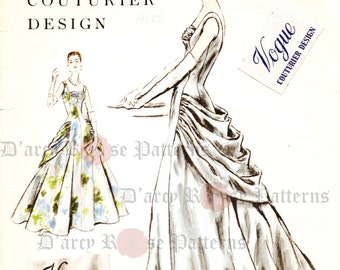 Vogue 884 Evening Dress Sewing Pattern Vintage 1950s Ball Gown Size 16