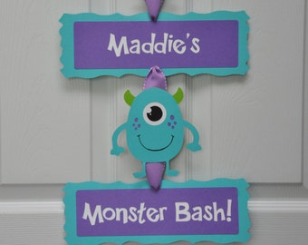 Girly Monster Bash Door Sign, Girly Monster Birthday Party Door Sign