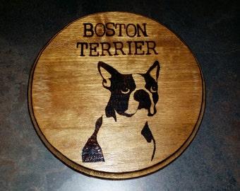 Boston Terrier Wood Burned Plaque