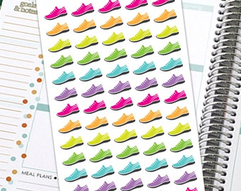 Running Stickers, Jogging Stickers, Fitness Stickers, Planner Stickers, Fitness Tracker Stickers, Shoe Stickers, Exercise stickers, Neon
