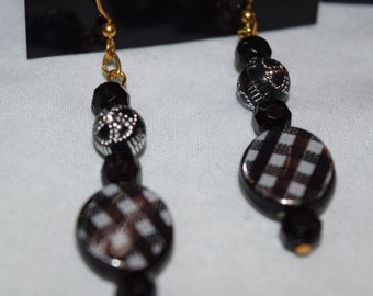 Black and white checkered earrings