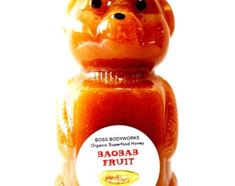 Organic BAOBAB Honey - 12oz - Adansonia digitata Herbal Fruit Infused Raw Superfruit Honey, certified kosher gluten-free non-GMO