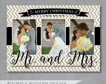 chevron newlyweds christmas card, new mr and mrs, married christmas, first christmas, PRINTABLE