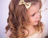 Gold Bow - Metallic Gold Bow - Gold Glitter Bow - Metallic Gold Bow - Gold Holiday Bow - Gold Bow Hair Clip - Gold Hair Bow - Gold Bow Tie