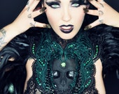 Catacomb Couture Black and Emerald Chest Piece