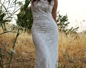 Bridesmaid dress. romantic prom dress. white lace wedding dress. boho wedding dress. sleeveless lace dress.plus size wedding dress.boho gown