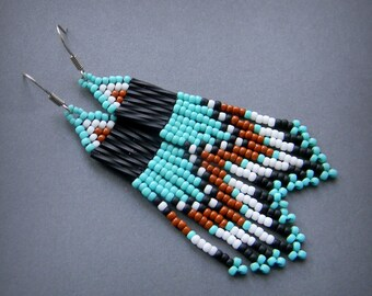Small Beaded Earrings, Beaded Jewelry, Turquoise / Black / White / Brown, Dangle Fringe Earrings, Seed Bead Jewelry