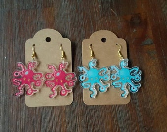 Octopus Acrylic Earrings in Blue and Red