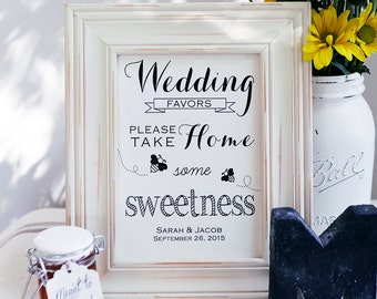 CUSTOM Printable Honey Wedding Favors 8x10, Honey Wedding Favors, Take a Favor Sign, DIY Printable, Instant Download