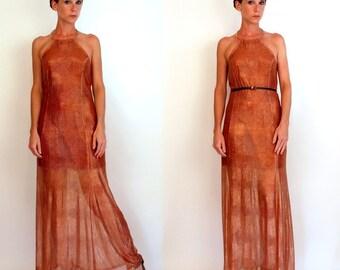 Vintage 70s Avant Garde Metallic Copper Peach Mesh Snakeskin Gown. Gold nude Subtle Animal Print sheer French Maxi dress w/ Choker. Small