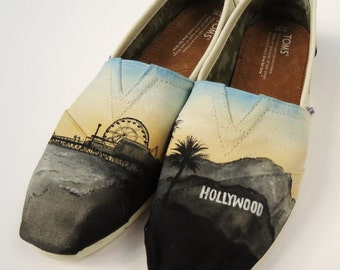 Hollywood Toms. Custom Painted Hollywood Themed Toms. Hand painted Toms Shoes.