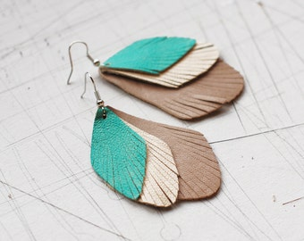 Drop Shape Leather Earrings / Three Layer /Turquoise/Pale Gray/Gray