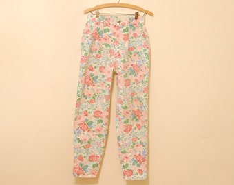 Floral Print Jeans - 1980s