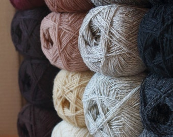 WOOL YARN assorted color mix  17balls + free shipping *Black, brown, grey, dark red mix