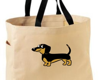 Dachshund themed tote bag - dog themed gift - polyester crafting tote bag - doggy tote bag - original design dog tote - weiner doxie tote