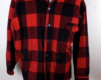 1980s Mens Buffalo Plaid Wool Button Up Fleece Lined Sport Hunting Coat Jacket