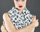 Walt Disney Mickey Mouse pattern Chiffon Infinity scarf, Circle Print Scarf, Scarves, Gift for her, Spring - Fall - Winter - Summer fashion