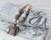 Babywearing Sling Nursing Teething necklace for breastfeeding mom with coconut turtle - gray color - cotton wooden beads