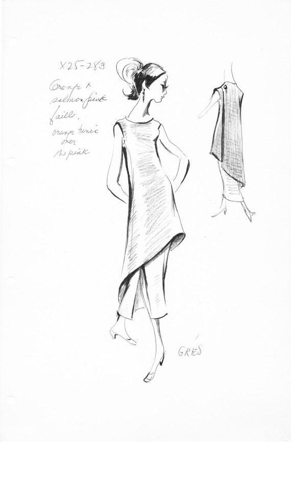 Haute Couture Vintage mode Esquisse Stat feuille d
