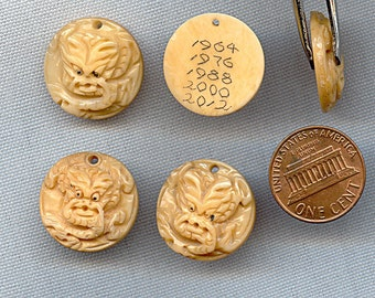 Vintage Genuine Ox Bone Hand Carved Chinese Zodiac Year of the Dragon 20mm. Round Pendant R638