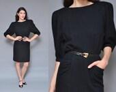 80s DRAMA black wool dress // dolman puff sleeve retro 40s high waist pencil skirt minimal mod avant garde POCKET fall midi dress