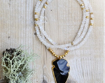 rainbow moonstones beaded necklace with gold pyrite and black obsidian arrowhead  ///  the queen of nowhere's necklace no. 02