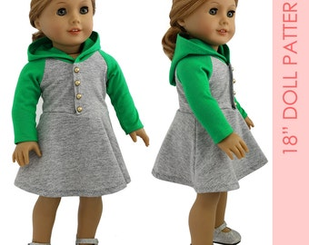 Doll dress pattern | American girl doll clothes pattern pdf, 18 inch doll clothes sewing pattern pdf | DOLL HOODIE DRESS