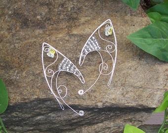 Elf Ear Cuffs - Crystal Butterfly - Bonus Gift Box - Elven Jewelry